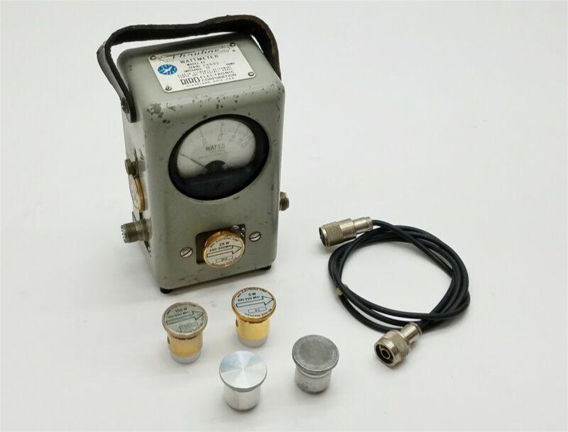 Bird Thruline Model 43 WattMeter Watt Meter w/5C 25D 50D 100A 100C Elements