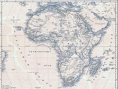 Echte 173 Jahre alte Landkarte AFRIKA Afrique Africa - Unerforschte Gebiete 1844