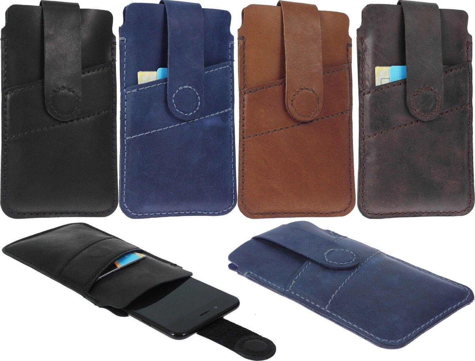 Hand Genäht Tasche Echtes Leder Magnetisches Armband Karte Hülle für Telefone