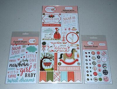 Baby Girl Sticker & Embellishment Lot - Brads, Chipboard, Enamel Shapes
