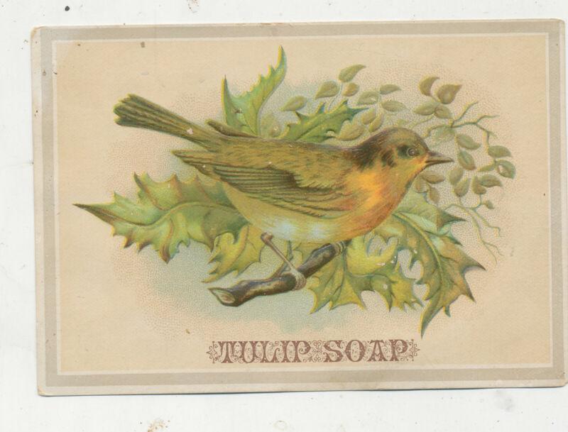 D2935 VICTORIAN TRADE CARD BIRD TULIP SOAP