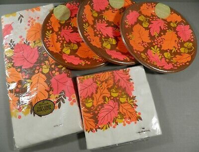 VINTAGE HALLMARK FALL THANKSGIVING PARTY SUPPLIES LOT TABLE COVER NAPKINS PLATES