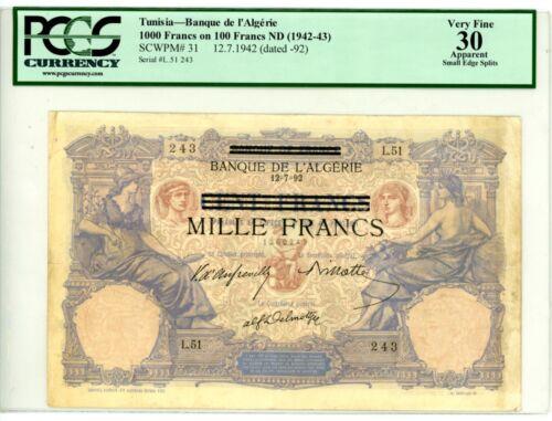 Tunisia ... P-31 ... 100 Francs ... ND(1942-43) ... *VF+* ... PCGS 30