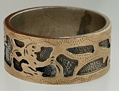 Mexican 14K Gold Overlay & Sterling Silver Eternity Wedding Band Sz 6.25 Ring   14k Gold Overlay Ring
