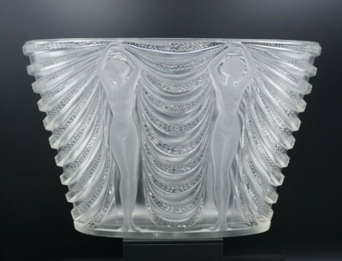 Large Frosted Glass Rene Lalique Terpsichore A Vase, No. 10-911 1937 12""