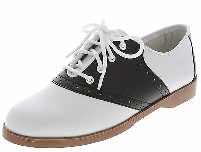 WOMENS CLASSIC 50s STYLE BLACK AND WHITE SADDLE SHOES~ALL SIZES 5-12 ~NEW IN BOX
