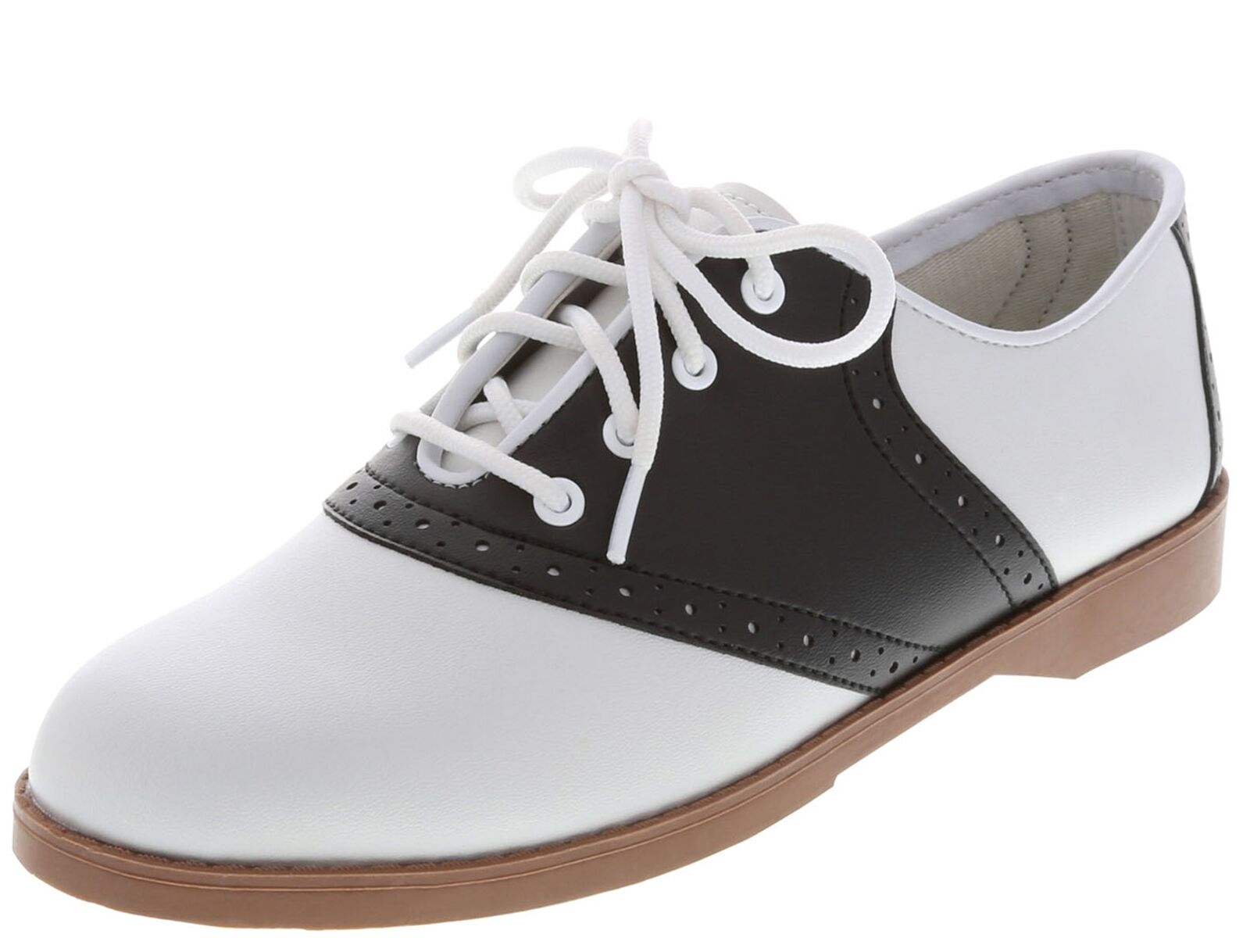 WOMENS CLASSIC 50s STYLE BLACK AND WHITE SADDLE SHOES ~ (RUN SMALL) ~NEW IN BOX