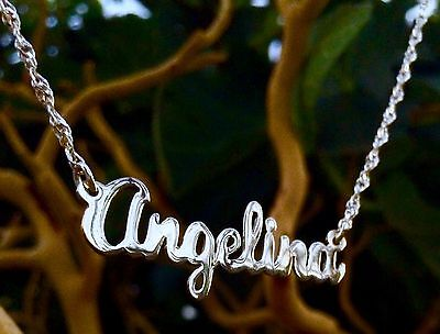 Sterling Silver Name Necklace - CUSTOM ANY Name Necklace in pure Sterling Silver M-G Script Style Name Necklaces