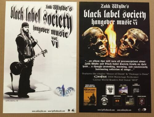 Zakk Wylde BLACK LABEL SOCIETY 2003 DOUBLE SIDED TOUR PROMO POSTER 4 Hangover CD