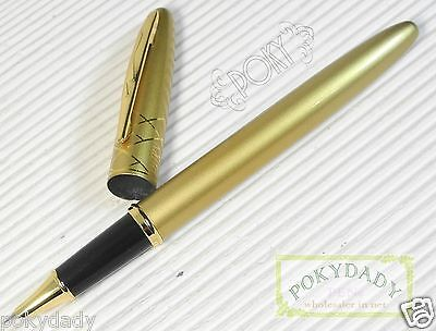POKY X 388 Fountain Pen GOLD + converter + 5 cartridges GREEN ink very smooth