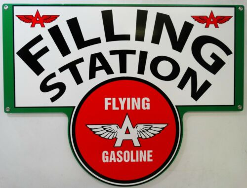 Flying A Gasoline Filling Station Plasma Cut Metal Sign