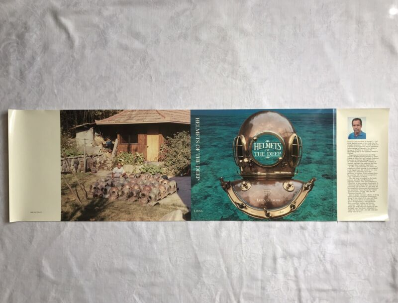 New Old Stock DUST JACKET for HELMETS OF THE DEEP by Leon G Lyons Diving Book