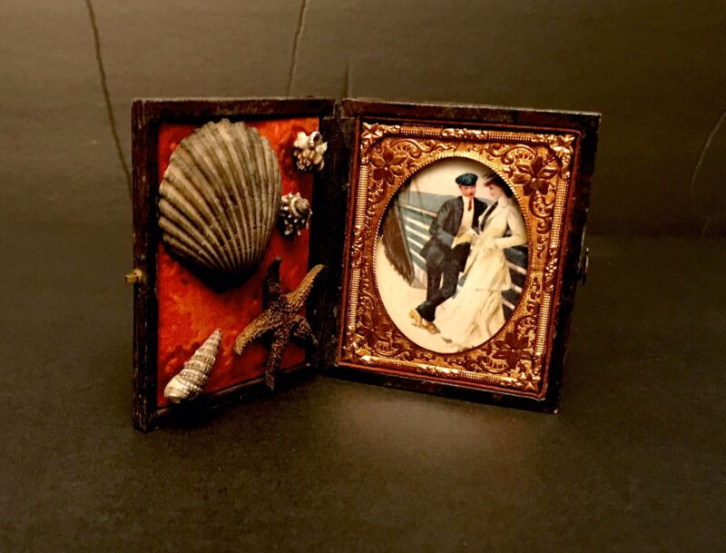 Antique Victorian Sailors Valentine Vintage Maritime Shell Art