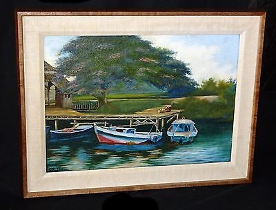1930s Hawaii Koa Framed Oil Painting Boats on a Dock by Lloyd Sexton (Geo)