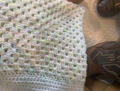 NEW HANDMADE CROCHET BABY BLANKET/AFGHAN - pastel colors/ -