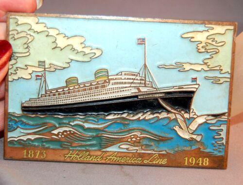 RARE Holland-America Cruise LIne Commerative Plaque Copper/Enamel! 1948!