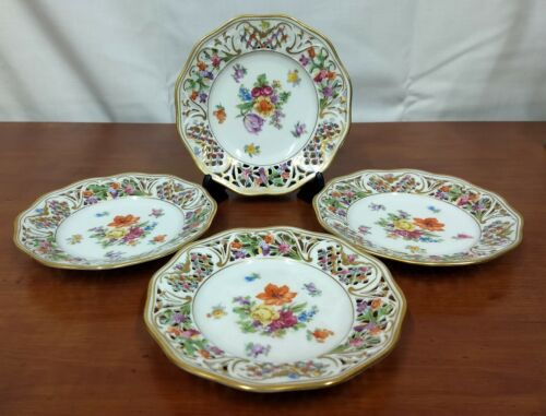 Bavaria SCHUMANN Germany US Zone Reticulated Set 4 Cabinet Floral DESSERT PLATES
