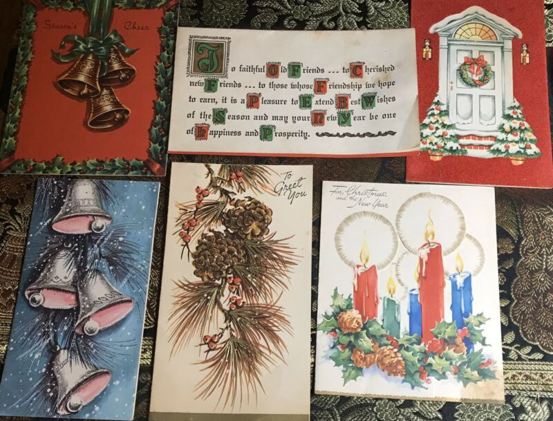 Vintage Christmas Cards (6) Made In USA Great Graphics! #3