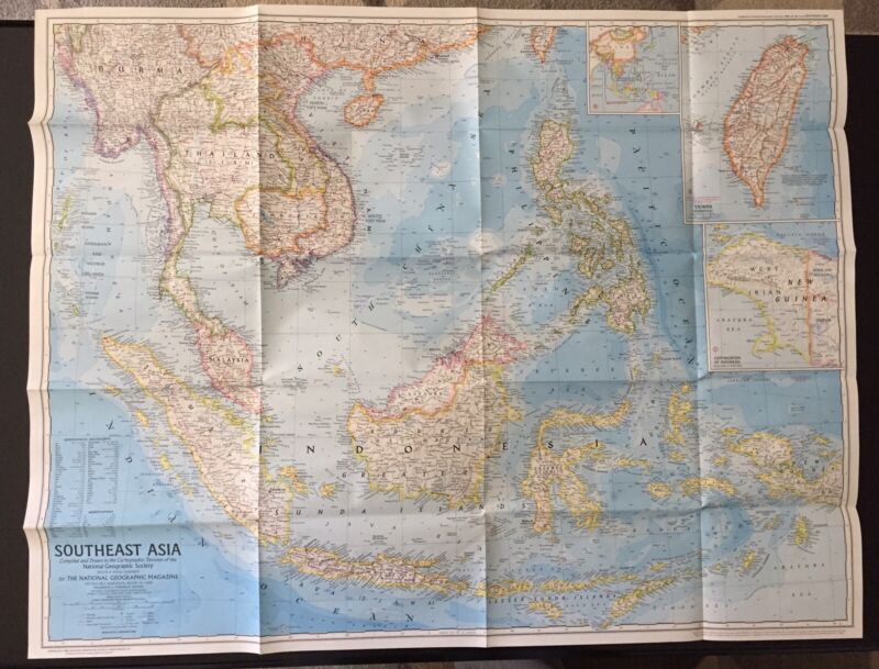 Vintage 1968 National Geographic Society Map of Southeast Asia