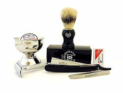MEN'S BEST SHAVING GROOMING KIT/SET- DE Safety Razor, Straight Razor, Brush, (Best Man Shaving Kits)