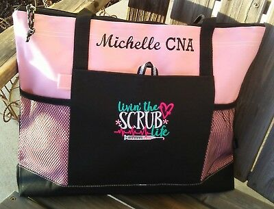 Nurse Scrub Life Personalized Tote Bag LPN, RN, CNA, HHA, BSN Appreciation Gift (Cna Gifts)