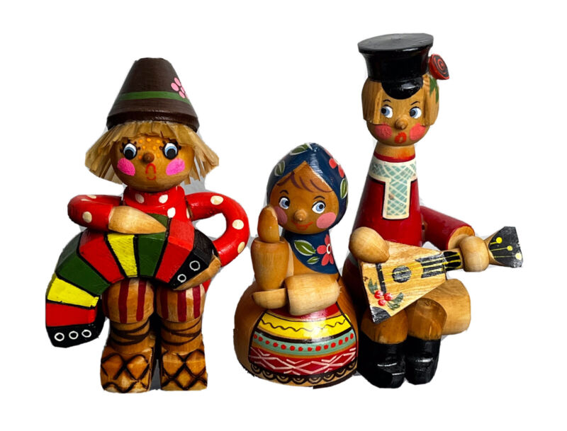 Vintage Russian Eastern European Musicians Folk Wooden figurines painted Wood
