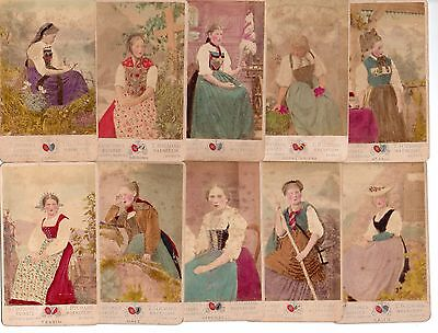 CDV 10 Photo colored TRAUGOTT Costume Suisses Woman 1890 Vintage Schweiz Fashion