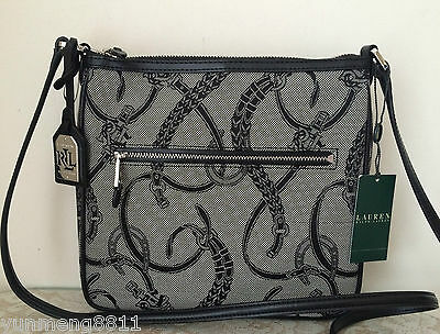 NWT RALPH LAUREN peyton flat crossbody black Jacquard messenger BAG PURSE (Black Flat Messenger Bag)