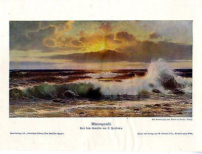 Farb-kunst-druck (Johannes Harders Meerespracht Sonnenuntergang Historischer Farb- Kunstdruck 1908)