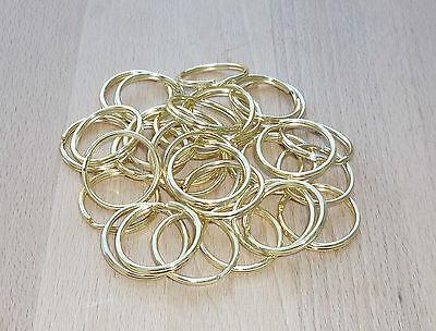 20 Stück Schlüsselringe 28mm Stahl Messing-Farben Spaltringe Doppelringe