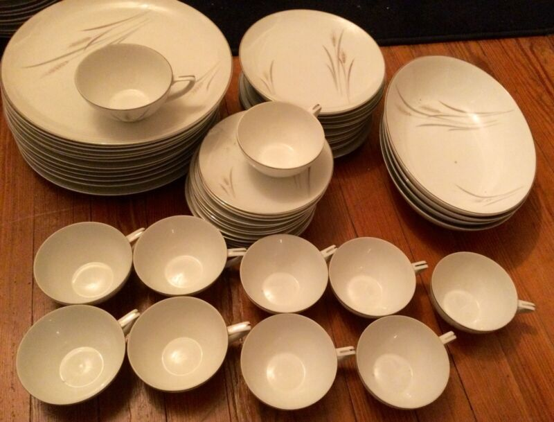 51 piece Platinum Wheat Fine China, made in Japan. Truly Beautiful.