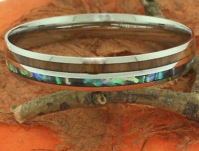 (Koa Wood Abalone Steel Bangle,Shell,Fashion,Cuff,Girl's Jewelry,Gift Idea,Cute)