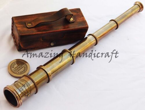 "Marine Old Antique Telescope 16"" Maritime Nautical Brass Spyglass Handmade Box"