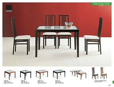 ESF Poker Modern Cherry Finish Dining Table with Scala Chairs, Set of 5 Pieces