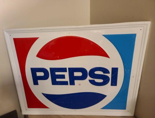 Vintage Pepsi Cola Advertising Embossed Metal Sign