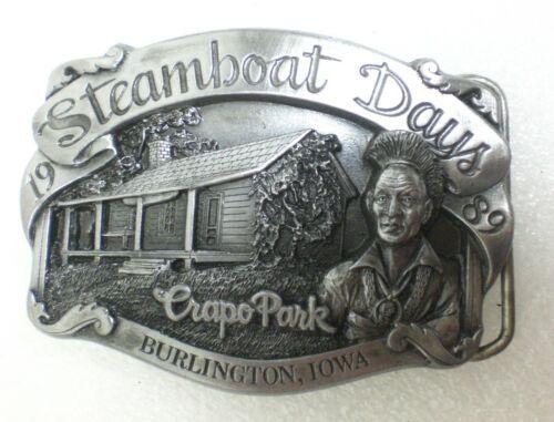 1989 Steamboat Days Burlington Iowa Crapo Park Pewter Belt Buckle   # 83/1000