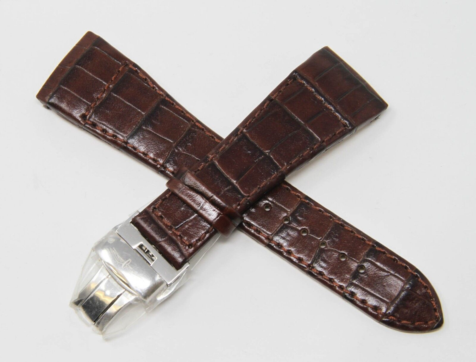 Rotary 24mm Alligator Prägung Uhrenarmband Braun mit Faltschliesse