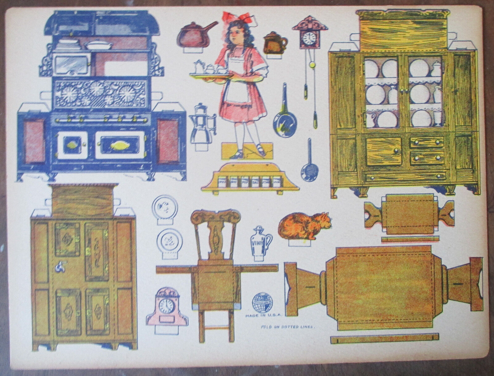 Rare 5 Sheets Vintage Uncut Cardstock Kitchen Furniture Appliances and More!