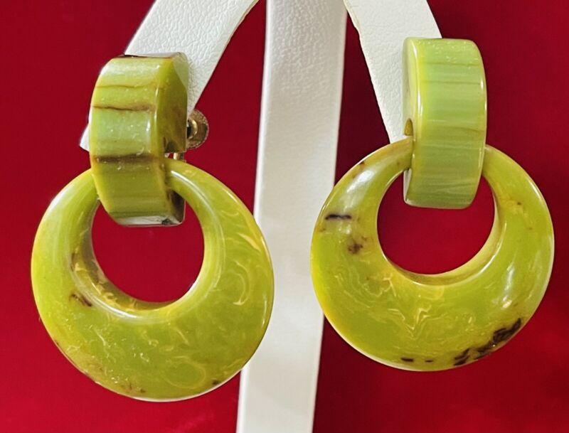Genuine Vintage Bakelite Dangle Hoop Screw Earrings