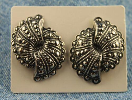 """Vntg Unsigned 1986 Avon """"Fanfare"""" Faux Marcasite Dble Fan Look Pierced Earrings"""