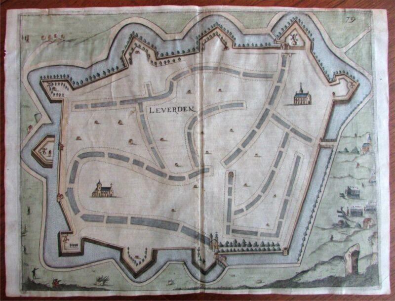 Leverden Low Countries 1673 Priorato city plan map decorative large scale