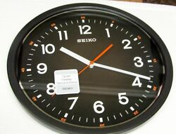 SEIKO BLACK  WALL CLOCK 12.25 IN DIAMETER  WITH QUIET SWEEP SECOND QXA727KLH