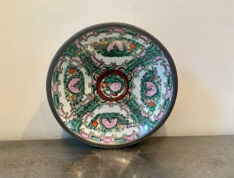 Japanese Porcelain Ware Pewter Encased Bowl Decorated In Hong Kong Vintage