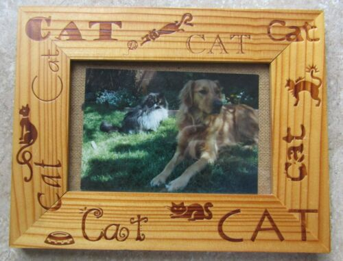 Wooden Cat Frame with Glass