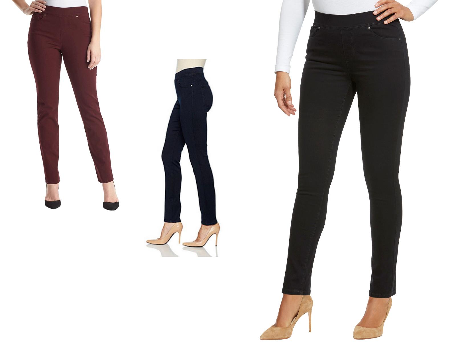"Gloria Vanderbilt Women's "" Avery "" Pull-On Slim Leg Mid Ris"