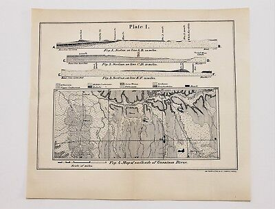 1869 Colorado Survey Map Gunnison River Tongue Mesa Profiles ORIGINAL RARE
