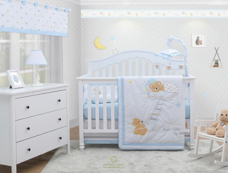 6-Piece Sweet DreamTeddy Bear Baby Boy Nursery Crib Bedding Sets By OptimaBaby