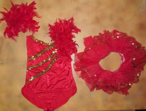 Red Leotard w/ Matching Tutu Gold Sequins Dance Large Child Weissman