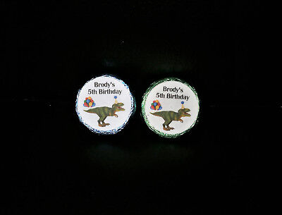 @PERSONALIZED T-REX DINOSAUR BIRTHDAY KISSES/BUBBLES FAVOR LABELS/STICKERS@