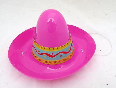 Cinco de Mayo Mini Plastic Pink Sombrero Hat Party Mexican Costume Doll Size - Mini Sombrero Hats